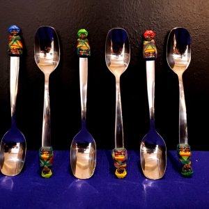 Clay and beaded teaspoons-