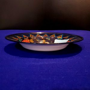 Painted flat dish blue-