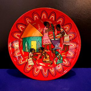 Painted flat dish red-